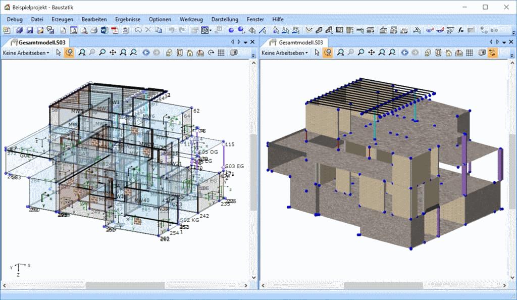 BIM-Statik: 3d Gesamtmodell in der Baustatik