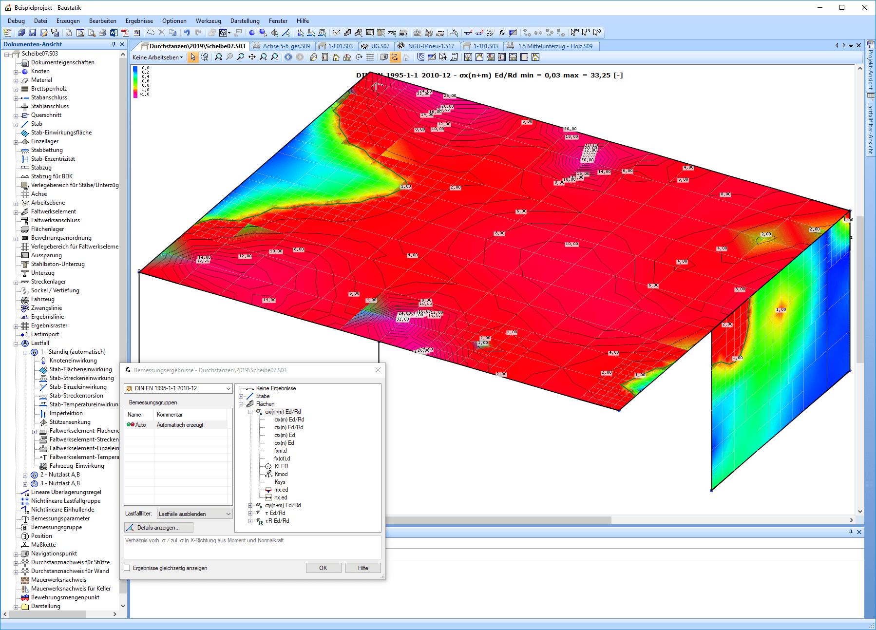 Berechnungsergebnis in Brettsperrholz-Flächen