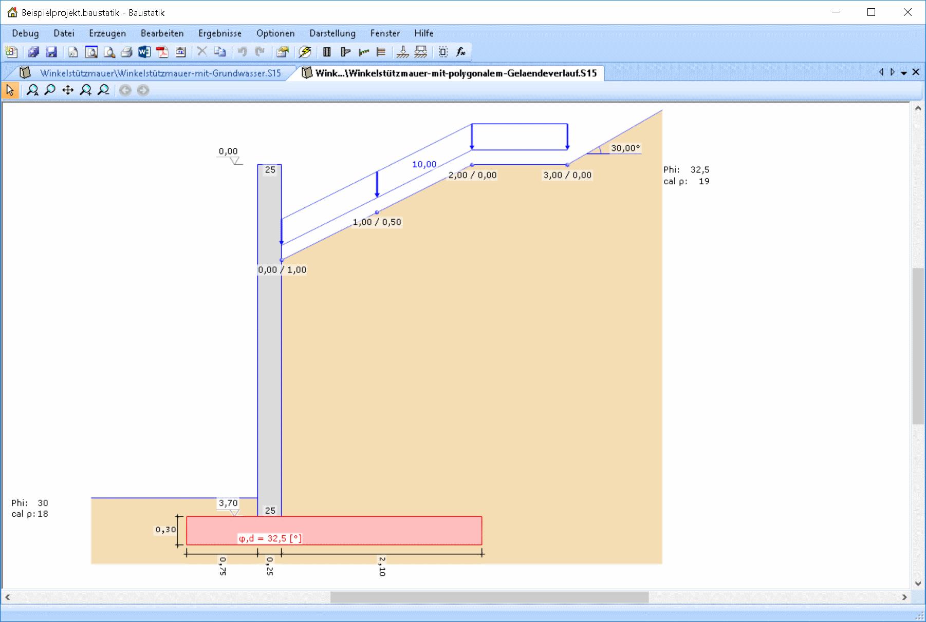 Winkelstützmauer mit polygonalem Geländeverlauf